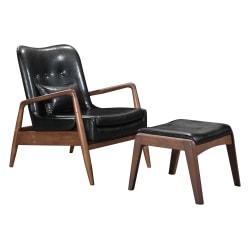 Zuo Modern Bully Lounge Chair And Ottoman, Black/Walnut