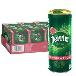 Perrier Flavored Sparkling Mineral Water, Watermelon, 8.45 Oz, Pack Of 30 Slim Cans