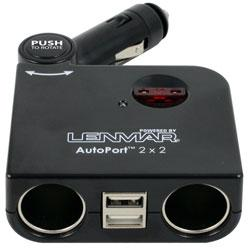 Lenmar SSPU2 AutoPort Car Adapter, With 2 USB Ports 2 DC Sockets