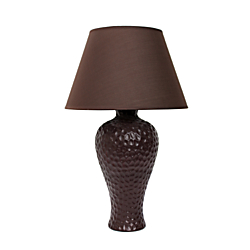 Simple Designs Curvy Ceramic Table Lamp, 19 1/2in.H, Brown Shade/Brown Base