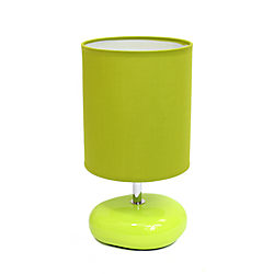Simple Designs Stonies Bedside Table Lamp, 10 1/2in.H, Green Shade/Green Base