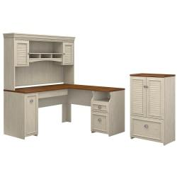 Bush Furniture Fairview 60in.W L Shaped Desk With Hutch And Storage Cabinet With Drawer, Antique White/Tea Maple, Standard Delivery