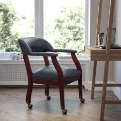 Flash Furniture Luxurious Vinyl Rolling Conference Chair, Navy/Brown