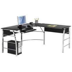 Realspace(R) Mezza L-Shaped Glass Computer Desk, Black/Chrome