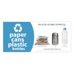 Recycle Across America Paper, Cans And Plastic Standardized Recycling Label, PCP-0409, 4in. x 9in., Light Blue