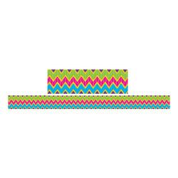 Teacher Created Resources Double-Sided Borders, 3in. x 36in., Sassy Bubbles And Chevrons, Pack Of 12