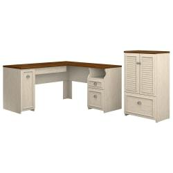 Bush Furniture Fairview 60in.W L Shaped Desk And Storage Cabinet With Drawer, Antique White/Tea Maple, Standard Delivery