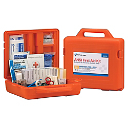 First Aid Only Weatherproof 215-Piece First Aid Kit, 4in.H x 13in.W x 12in.D, Orange