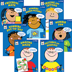 Creative Teaching Press(R) Stick Kids Workbooks Math Pack, Pre-K, Pack Of 7