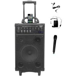 PylePro 800 Watt Dual Channel Wireless Rechargeable Portable PA System With iPod/iPhone Dock, FM Radio /USB/SD, Handheld Microphone, and Lavalier Microphone