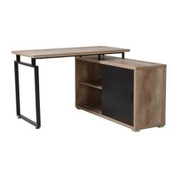 Homestar North America Duo L-Shaped Desk With Sliding-Door Bookcase, FSC Certified, Dark Brown