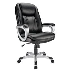 Realspace(R) Tresswell Bonded Leather High-Back Chair, Black/Silver