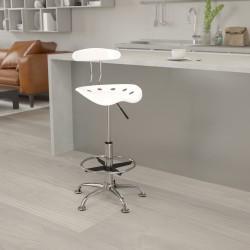 Flash Furniture Vibrant Drafting Stool, White/Chrome