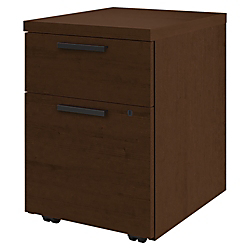 HON 10500 Series Mobile Pedestal - 15.8in. x 18in. x 22in. - 2 x Box Drawer(s), File Drawer(s) - Single Pedestal - Square Edge - Material: Wood - Finish: Mocha