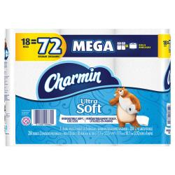 Charmin(R) Ultra Soft(TM) Mega Rolls, 2-Ply, White, 284 Sheets Per Roll, Pack Of 18 Rolls