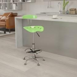 Flash Furniture Vibrant Drafting Stool, Spicy Lime/Chrome