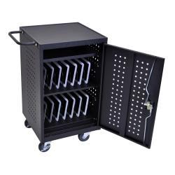 Luxor LLTM30-B 30-Tablet Charging Cart, 36 3/4in.H x 26in.W x 20 1/4in.D, Black