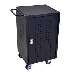 Luxor LLTM30-B-RFID 30-Tablet Charging Cart, 36in.H x 26in.W x 20in.D, Black
