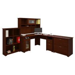 Bush Furniture Cabot L Shaped Desk And Hutch With 6 Cube Bookcase And Lateral File Cabinet, Harvest Cherry, Standard Delivery