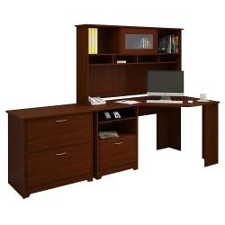 Bush Furniture Cabot Corner Desk With Hutch And Lateral File Cabinet, Harvest Cherry, Standard Delivery