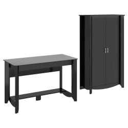 Bush Furniture Aero Writing Desk And Tall Storage Cabinet With Doors, Classic Black, Standard Delivery
