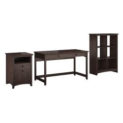 Bush Furniture Buena Vista Writing Desk With 6 Cube Bookcase And 2 Drawer File Cabinet, Madison Cherry, Standard Delivery