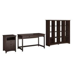 Bush Furniture Buena Vista Writing Desk With 2 Drawer File Cabinet And 16 Cube Bookcase, Madison Cherry, Standard Delivery