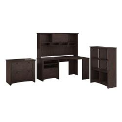 Bush Furniture Buena Vista Corner Desk With Hutch Lateral File Cabinet And 6 Cube Bookcase, Madison Cherry, Standard Delivery
