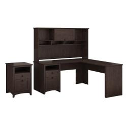Bush Furniture Buena Vista L Shaped Desk With Hutch And 2 Drawer File Cabinet, Madison Cherry, Standard Delivery