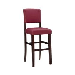 Linon Home Decor Products Monaco Counter Stool, 30in.H, Dark Red/Espresso