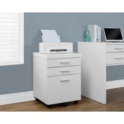 Monarch Specialties 19in.D Vertical Filing Cabinet, 3 Drawers, White