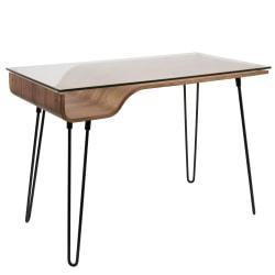 Lumisource Avery Mid-Century Modern Desk, Walnut/Black