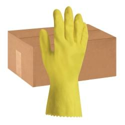 ProGuard Flock Lined Latex Gloves - Chemical Protection - Medium Size - Yellow - Embossed Grip, Flock-lined, Abrasion Resistant, Detergent Resistant, Acid Resis