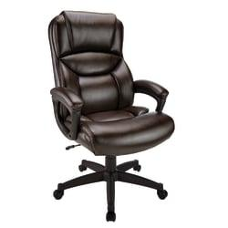 Realspace(R) Fennington Bonded Leather High-Back Chair, Brown/Black