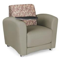 OFM Interplay-Series Single-Tablet Chair, 33in.H x 43in.W x 32in.D, Plum/Taupe/Tungsten