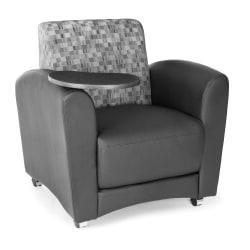 OFM Interplay-Series Single-Tablet Chair, 33in.H x 43in.W x 32in.D, Nickel/Black/Tungsten