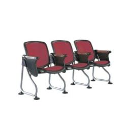 OFM ReadyLink Row Seating, Starter Seat With Tablet, 35in.H x 26 1/2in.W x 20in.D, Silver Frame, Maroon Fabric