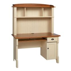Realspace(R) Shore Mini Solutions Computer Desk With Hutch, 63 1/4in.H x 47 1/2in.W x 23 1/2in.D, Antique White