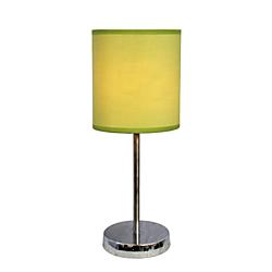 Simple Designs Mini Basic Table Lamp, 11 7/8in.H, Green Shade/Chrome Base