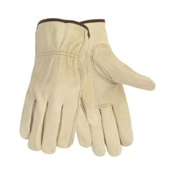 Memphis Economy Leather Driver Gloves, Medium, Cream