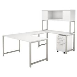 Bush Business Furniture 400 Series U Shaped Table Desk with Hutch and 3 Drawer Mobile File Cabinet, 60in.W, White, Standard Delivery