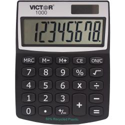 Victor 1000 Mini Desktop Calculator - Large LCD, Battery Backup, Independent Memory, Plastic Key, Dual Power - 0.71in. - 8 Digits - LCD - Battery/Solar Powered