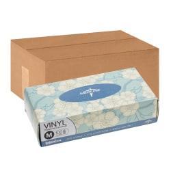 Medline Designer Boxed Powder-Free Vinyl Gloves, Medium, Clear, 100 Gloves Per Box, Case Of 10 Boxes