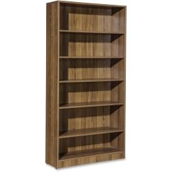 Lorell Essentials Series Walnut Laminate Bookcase - 36in. x 12.5in. x 72in. Bookshelf, Shelf - 6 Shelve(s) - Square Edge - Material: P2 Particleboard - Finish: