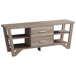 Monarch Specialties TV Stand With 2 Storage Drawers For TVs Up To 60in., Dark Taupe
