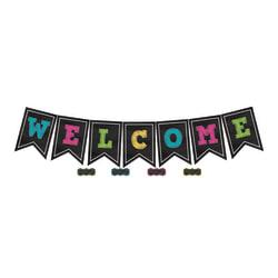 Teacher Created Resources Chalkboard Brights Welcome Pennants, 9 1/2in. x 13 1/2in., Multicolor, Pre-K - Grade 8, Pack Of 48