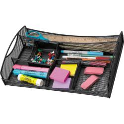 Safco Mesh Drawer Organizer - 7 Compartment(s) - 2.8in. Height x 13in. Width x 8.8in. Depth - Drawer - Black - Steel - 1Each