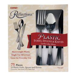 Comet(R) Reflections(TM) Heavyweight Plastic Cutlery, Silver, Set Of 75