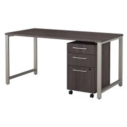 Bush Business Furniture 400 Series Table Desk with 3 Drawer Mobile File Cabinet, 60in.W x 30in.D, Storm Gray, Premium Installation