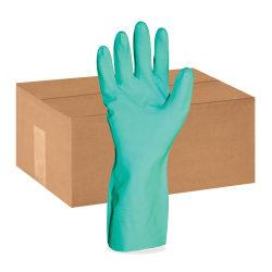 ProGuard Flock Lined 12in. Green Nitrile Gloves - Small Size - Nitrile - Green - Abrasion Resistant, Puncture Resistant, Chemical Resistant, Non-slip Grip, Floc
